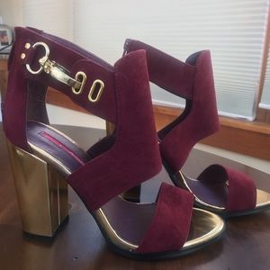Shoes - Burgundy and gold block heel